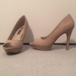 open toe cream heels